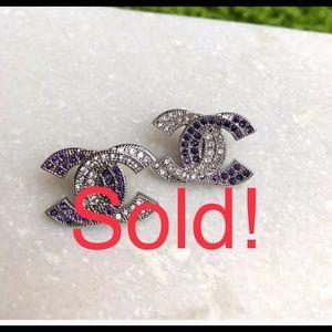 Auth CHANEL Purple & Silver CC Stud Earrings